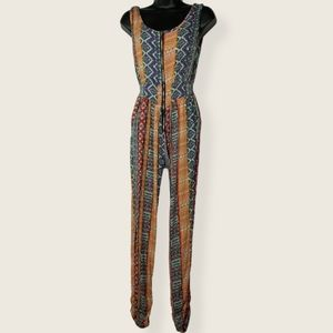 Boho Tribal Zippered Petite Overall Jumpsuit